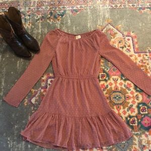 Dusty Pink Ruffle Dress long sleeves size 2